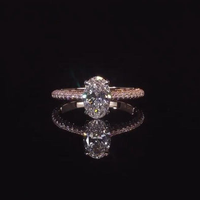 Jolics Oval Cut 5CT Engagement Ring With Paved Sidestones - jolics