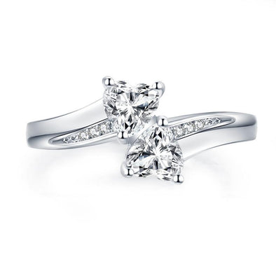 Jolics Two Stone Heart Cut Ring - jolics