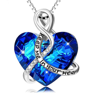 Keep Me In Your Heart-Blue Heart Pendant Necklace With Stones - jolics