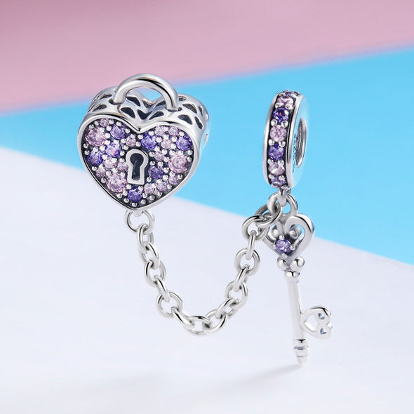 Key with Heart 925 Sterling Silver Dangle Charm - jolics