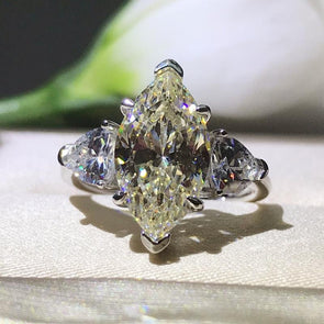 Light Yellow Three Stone Tapered Marquise Ring - jolics