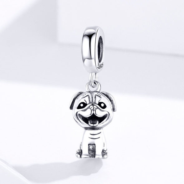 Little Dog 925 Sterling Silver Dangle Charm - jolics