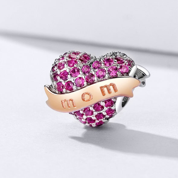 Love Mom 925 Sterling Silver Bead Charm - jolics