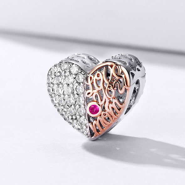 Love You Mom-Hollow Out Heart Shape 925 Sterling Silver Bead Charm - jolics