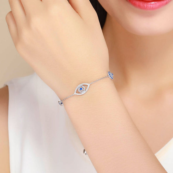 Lucky Blue Eye Design 925 Sterling Silver Slider Bracelet - jolics