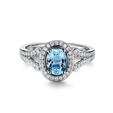 Luxury 1.25ct Halo Topaz 925 Sterling Silver Ring - jolics