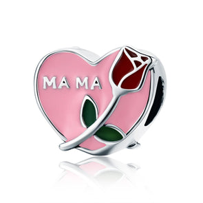 MAMA-Rose & Heart 925 Sterling Silver Charm - jolics