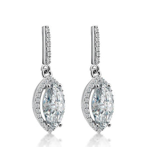 Marquise Cut Halo Silver Earrings - jolics