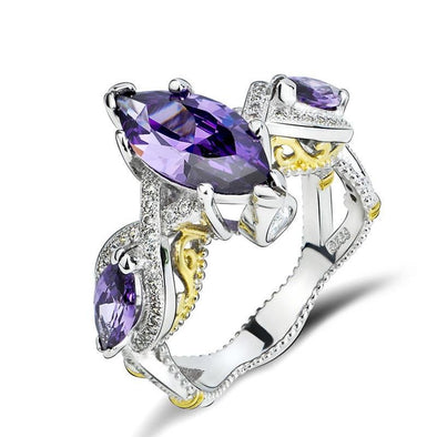 Marquise Cut Purple Twist Ring - jolics