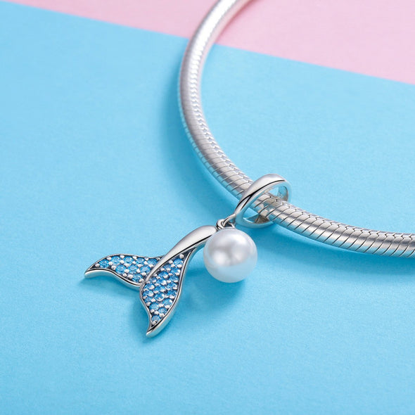 Mermaid Tail with a Pearl 925 Sterling Silver Dangle Charm - jolics