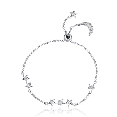 Moon And Star 925 Sterling Silver Simple Bracelet - jolics