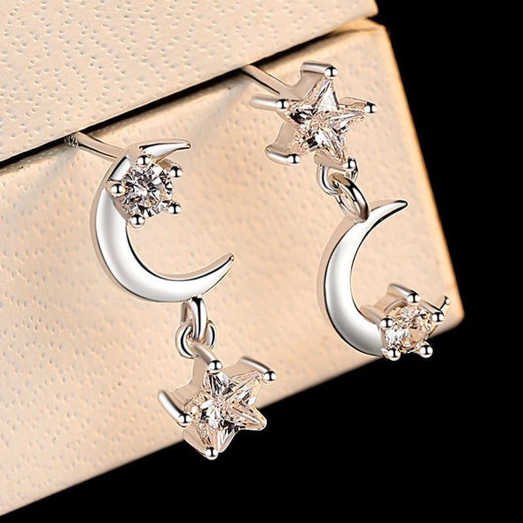 Moon and Star Asymmetry Stacking Earrings - jolics