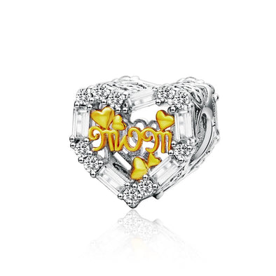 Mother Love Hollow Out 925 Sterling Silver Bead Charm - jolics