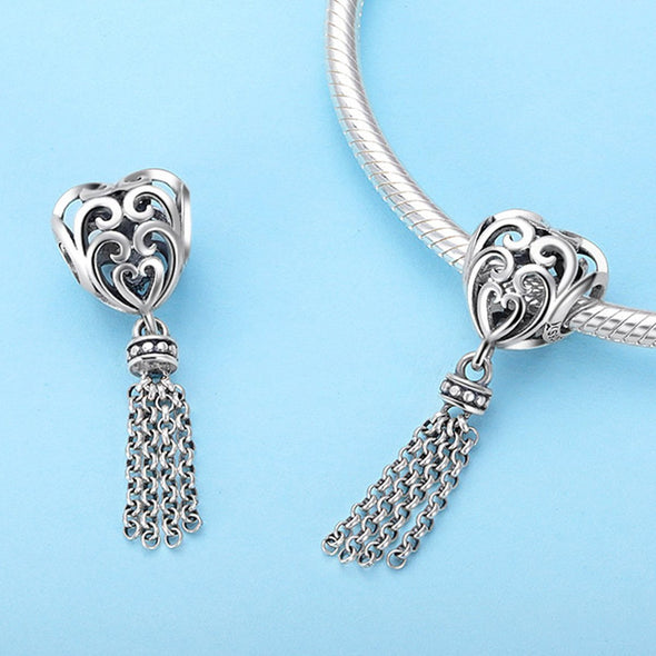 Moving Heart 925 Sterling Silver Dangle Charm - jolics
