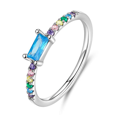 Multi Color Stone 925 Sterling Silver Stackable Ring - jolics