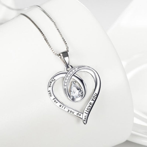 Mum's Gift - Fancy Heart Pendant Necklace With Center Stone - jolics