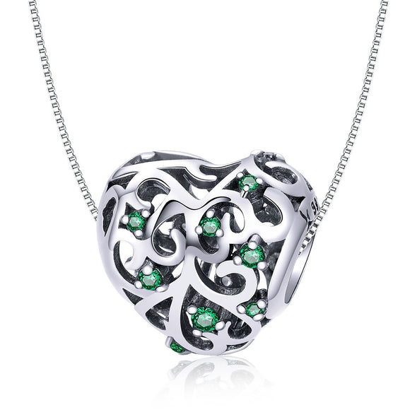 Openwork Life Tree Heart 925 Sterling Silver Charm - jolics