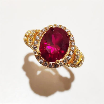Oval Ruby Red Vintage Ring - jolics
