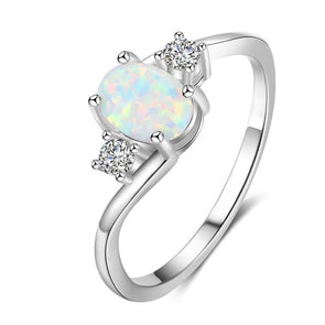 Oval Three Stone Bypass Opal Ring - jolics