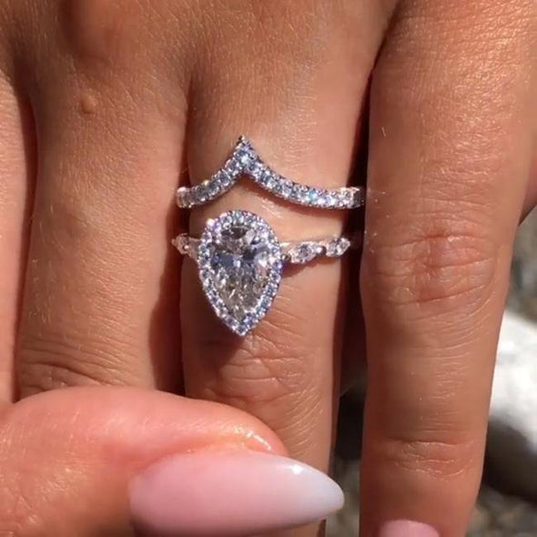 Pear Cut Halo With unique band 2pc set rings - jolics
