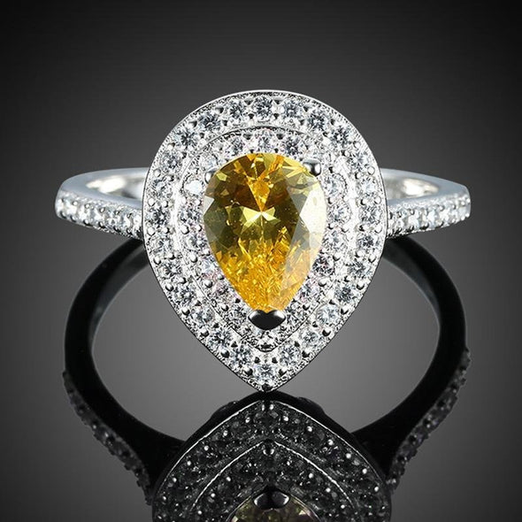 Pear Cut Yellow Double Halo Ring - jolics