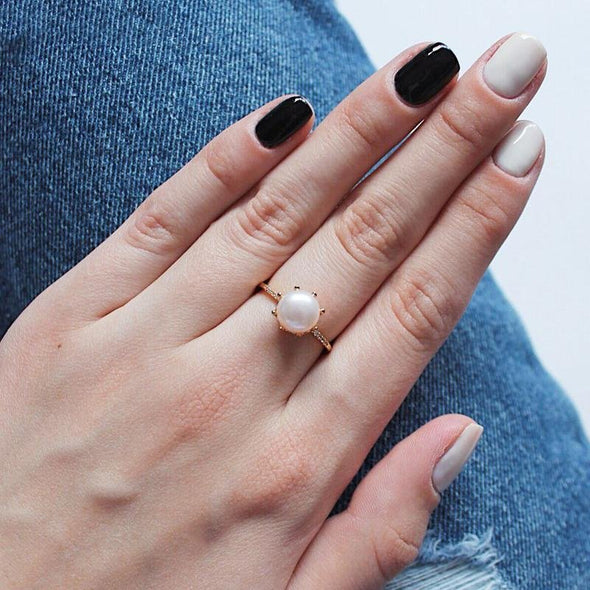 Pearl Gold Open Ring - jolics