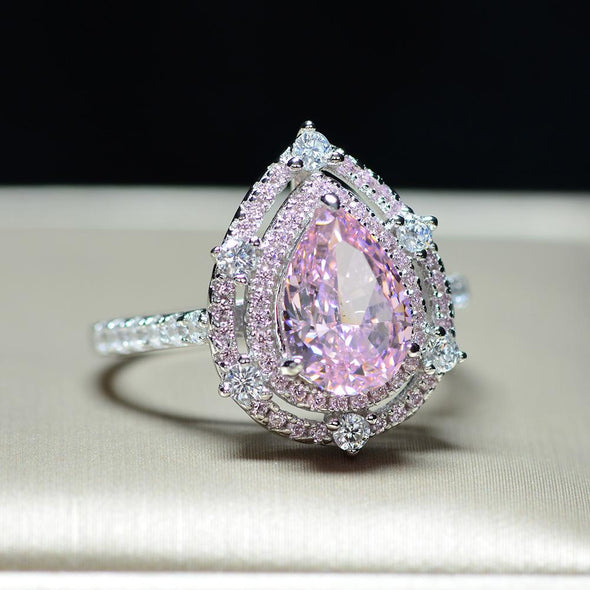 Pink 2.0 Carat Pear Cut Double Halo Sterling Silver Ring - jolics
