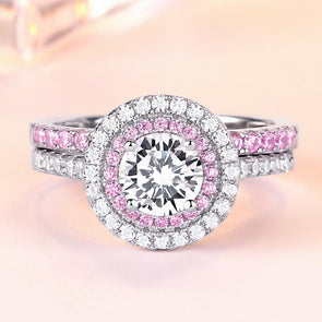 Pink Color Halo With Center Stone 925 Sterling Silver Ring Set - jolics