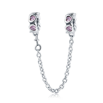 Pink Heart Link 925 Sterling Silver Bracelet Safety Chain Charm - jolics