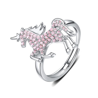 Pink Unicorn 925 Sterling Silver Open Ring - jolics