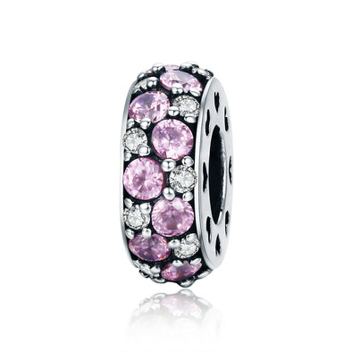 Pink & White 925 Sterling Silver Pavé Charm - jolics