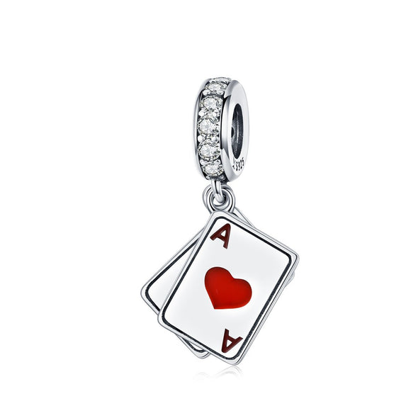 Poker Cards 925 Sterling Silver Dangle Charm - jolics