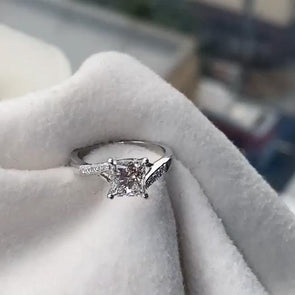 Princess Cut 925 Sterling Silver Classic Engagement Ring - jolics