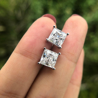 Princess Cut 925 Sterling Silver Stud Earrings - jolics