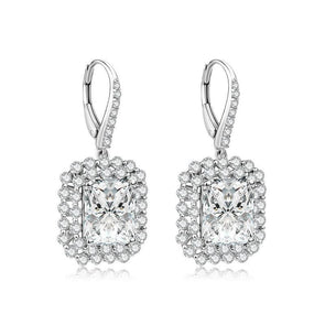 Princess Cut Double Halo Silver Earrings - jolics