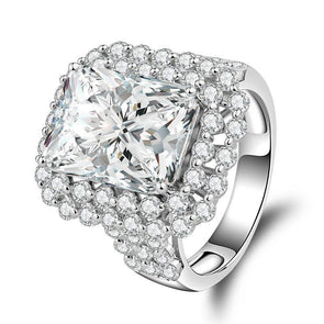 Princess Cut Double Halo Triple Row Stone Engagement Ring - jolics