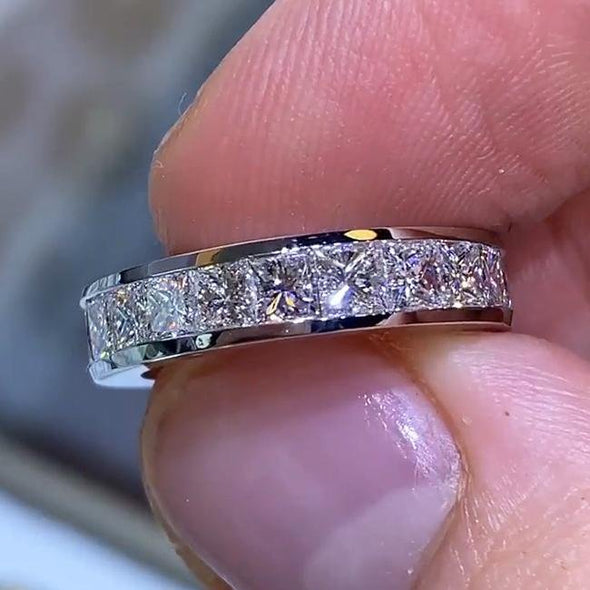 Princess Cut Halo 925 Sterling Silver Classic Engagement Band Ring - jolics