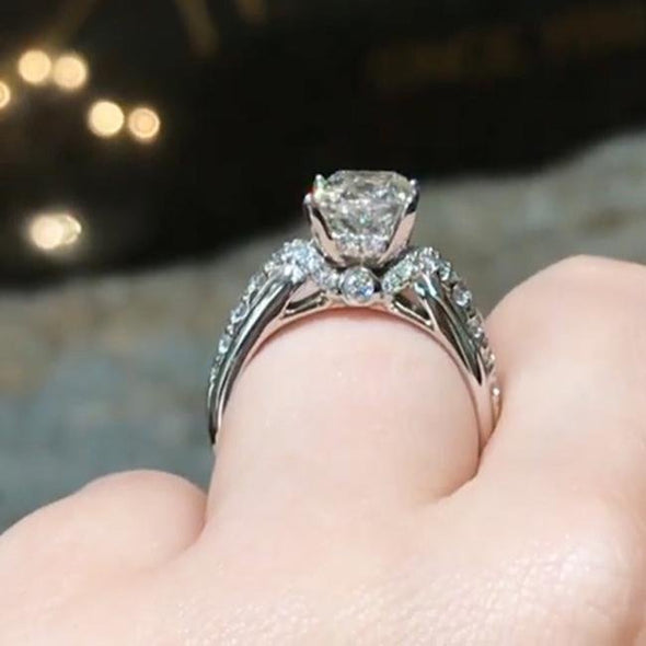 Princess Cut Halo 925 Sterling Silver Classic Party Engagement Ring - jolics
