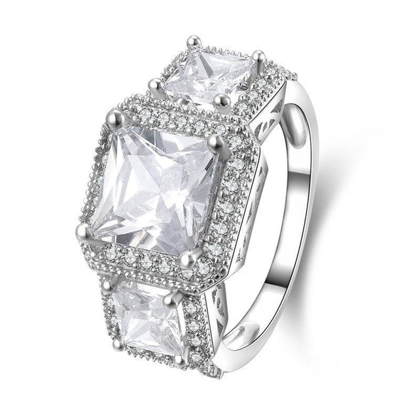 Princess Cut Halo Three Stone Engagement Ring - jolics