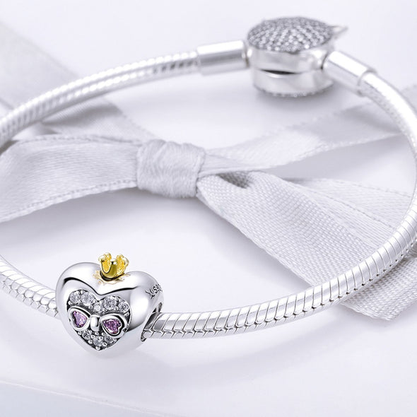 Princess Heart 925 Sterling Silver Bead Charm - jolics