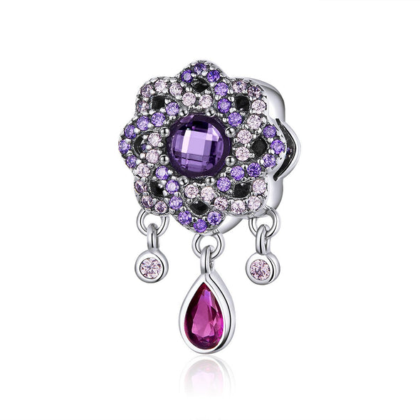 Purple Flower 925 Sterling Silver Dangle Charm - jolics