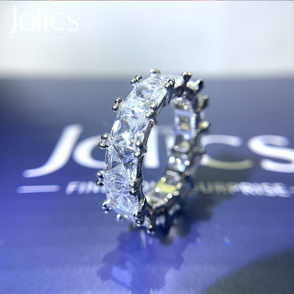 Radiant Cut Eternity 925 Sterling Silver Wedding Band - jolics