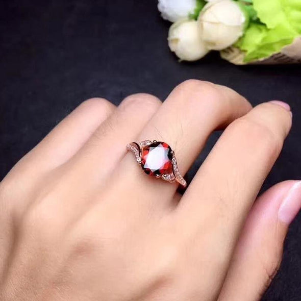 Red Stone Rose Gold Split Open Ring - jolics