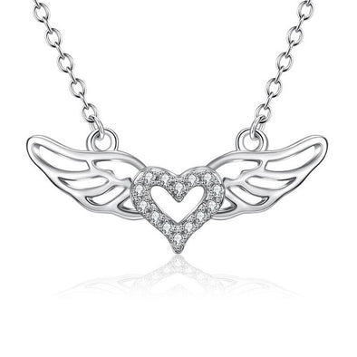 Rhodium Plated Sterling Silver CZ Angel Wings Pendant Necklace - jolics