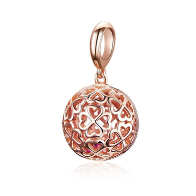 Rose Gold Clover Ball 925 Sterling Silver Dangle Charm - jolics