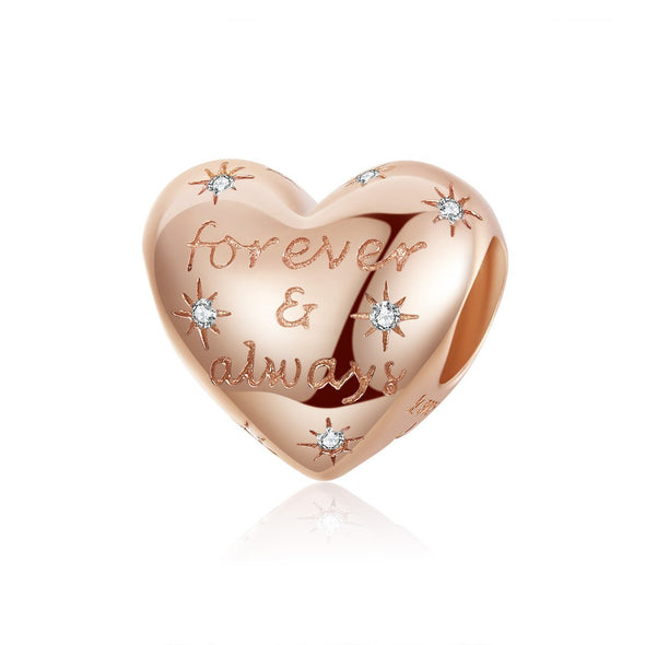 Rose Gold Forever & Always 925 Sterling Silver Bead Charm - jolics
