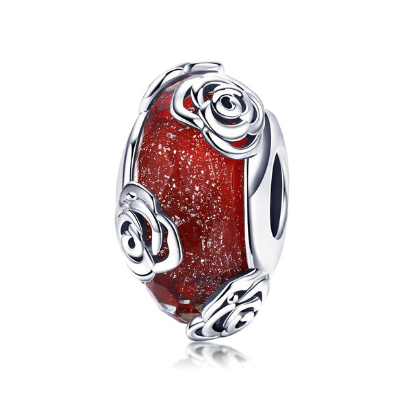 Rose Night 925 Sterling Silver Glass Bead Charm - jolics