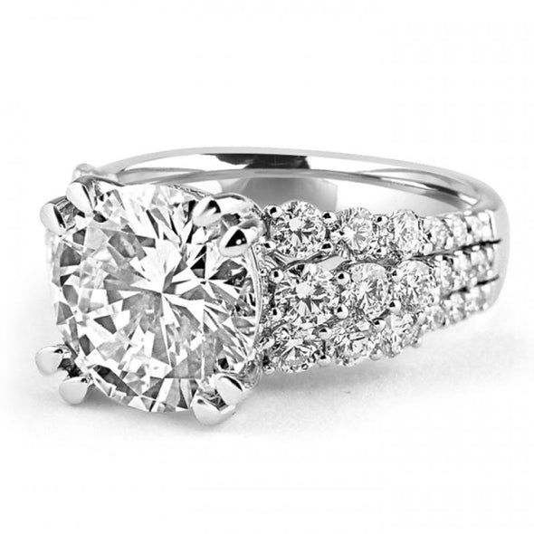 Round Cut 4.0 CT Solitaire Three-Row Sterling Silver Engagement Ring - jolics
