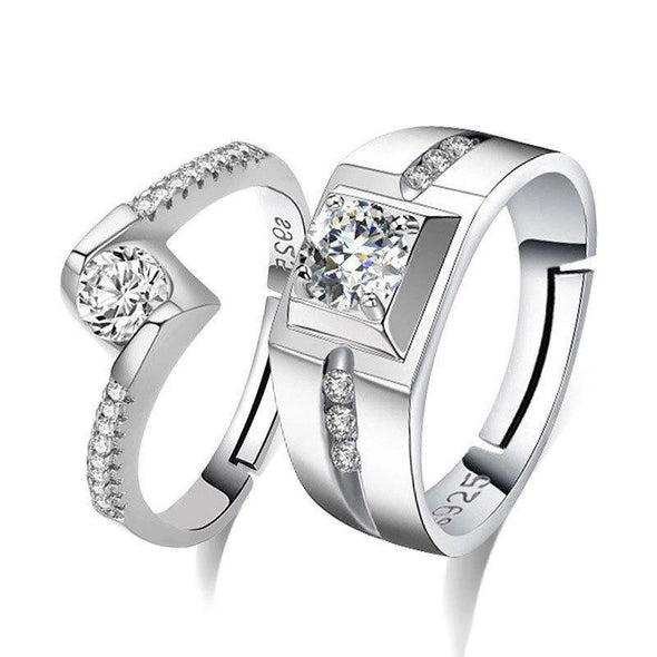 Round Cut Bypass Silver Open Couple Rings - jolics