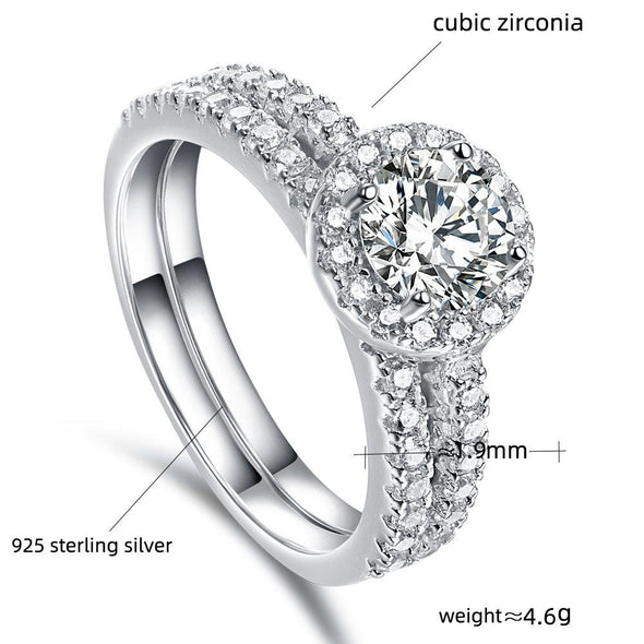 Round Cut Halo Classic Ring Set - jolics
